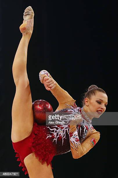 Melitina Staniouta of Belarus performs with the ball during the individual competition of the GAZPROM World Cup Rhythmic Gymnastics at Porsche Arena...