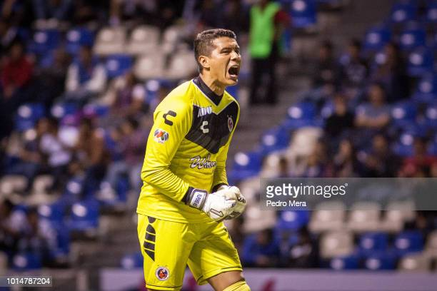 Meliton Hernandez goalkeeper of Veracruz celebrates a goal during the 4th round match between Puebla and Veracruz as part of the Torneo Apertura 2018...