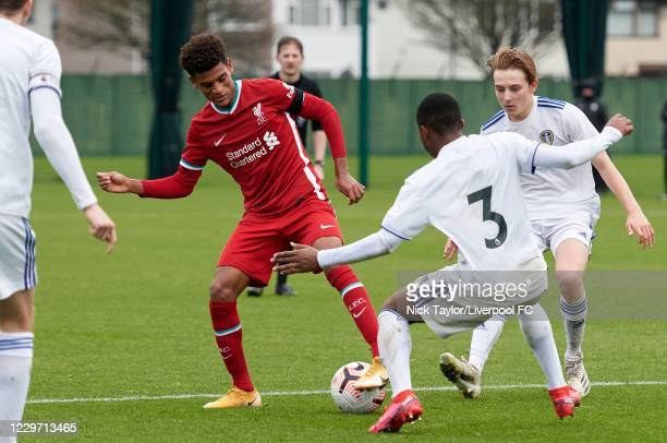 Melkamu Frauendorf of Liverpool and Ethan Kachosa of Leeds United in action at Melwood Training Ground on November 21, 2020 in Liverpool, England.