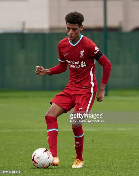 Melkamu Frauendorf of Liverpool in action at Melwood Training Ground on November 21, 2020 in Liverpool, England.
