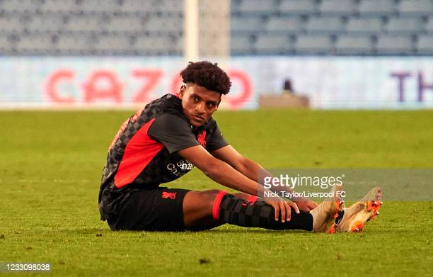 Melkamu Frauendorf of Liverpool shows his disappointment at the final whistle during the FA Youth Cup Final between Aston Villa U18 and Liverpool...