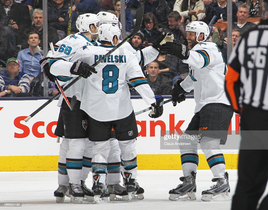 Melker Karlsson #68 of the San Jose Sharks celebrates a goal against the Toronto Maple Leafs during an NHL game at the Air Canada Centre on March 19, 2015 in Toronto, Ontario, Canada.