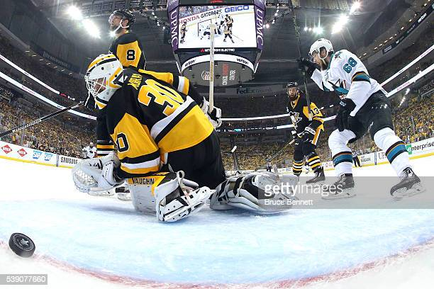 Melker Karlsson of the San Jose Sharks celebrates after scoring a goal against Matt Murray of the Pittsburgh Penguins during the first period in Game...