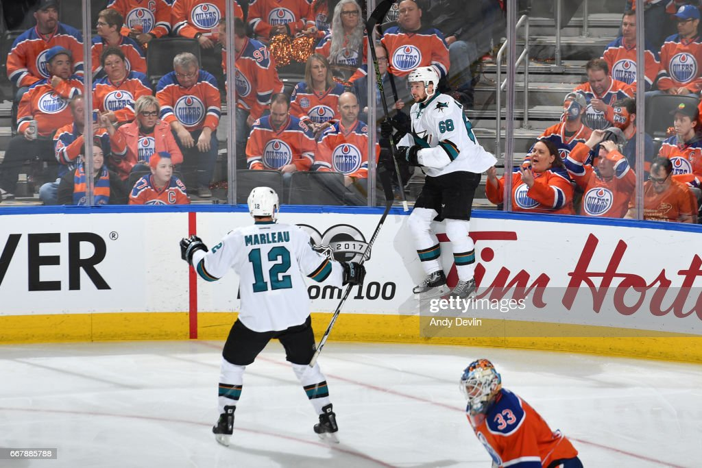 Melker Karlsson #68 of the San Jose Sharks celebrates an overtime goal in Game One of the Western Conference First Round during the 2017 NHL Stanley Cup Playoffs against the San Jose Sharks on April 12, 2017 at Rogers Place in Edmonton, Alberta, Canada.
