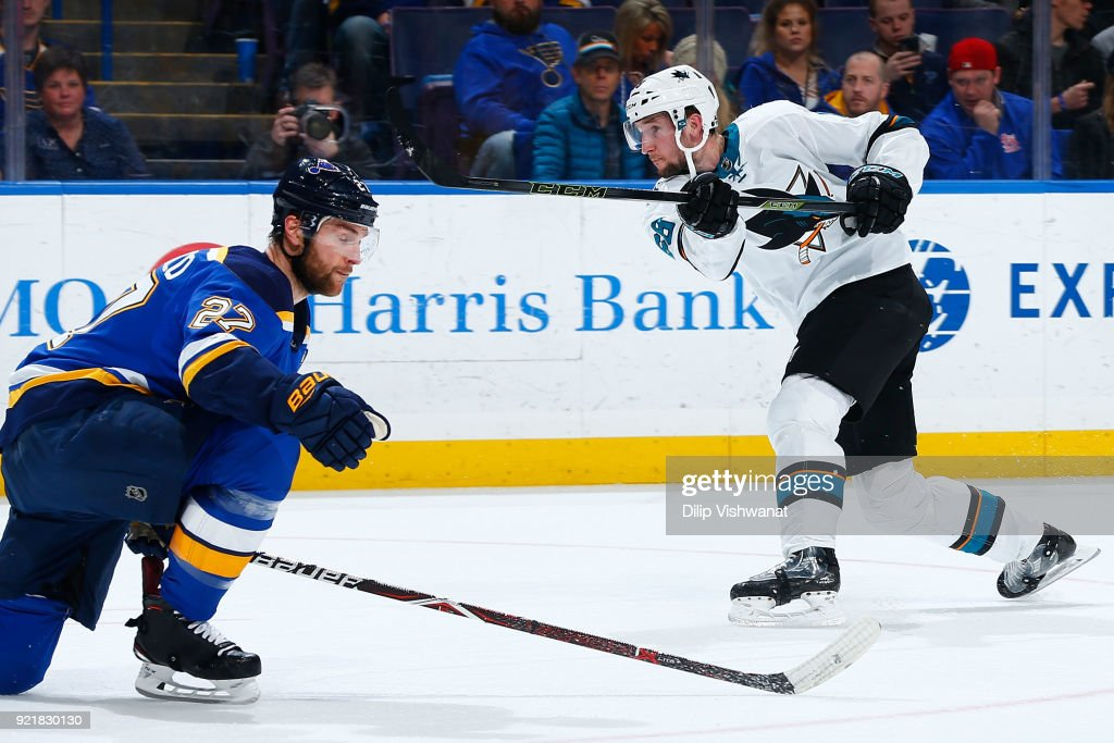 Melker Karlsson #68 of the San Jose Sharks shoots the puck against the St. Louis Blues at Scottrade Center on February 20, 2018 in St. Louis, Missouri.