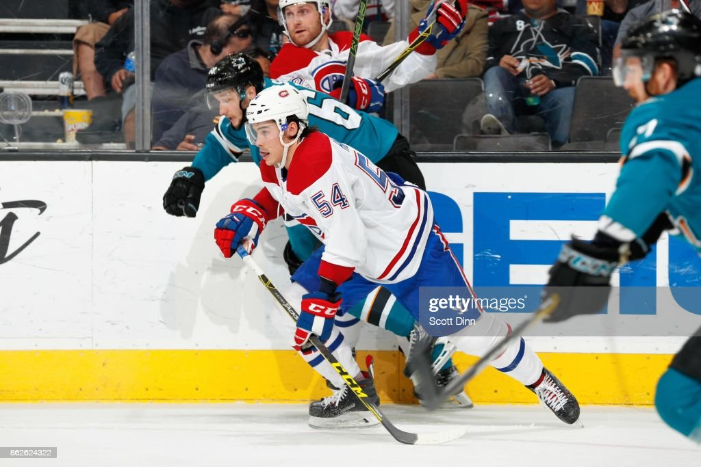 Melker Karlsson #68 of the San Jose Sharks skates against Charles Hudon #54 of the Montreal Canadiens at SAP Center on October 17, 2017 in San Jose, California.