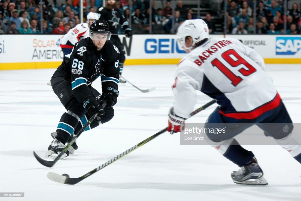 Melker Karlsson #68 of the San Jose Sharks skates against Nicklas Backstrom #19 of the Washington Capitals at SAP Center at San Jose on March 9, 2017 in San Jose, California.