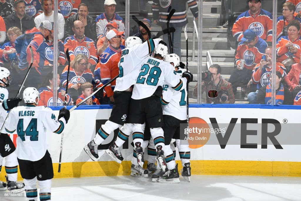 Melker Karlsson #68, Patrick Marleau #12, Timo Meier #28 and David Schlemko of the San Jose Sharks celebrate an overtime goal in Game One of the Western Conference First Round during the 2017 NHL Stanley Cup Playoffs against the San Jose Sharks on April 12, 2017 at Rogers Place in Edmonton, Alberta, Canada.