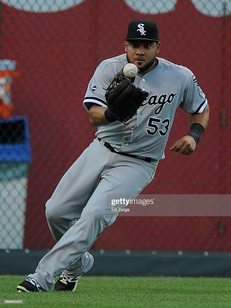 Melky Cabrera #53 of the Chicago White Sox fields a ball hit by Cheslor Cuthbert #19 of the Kansas City Royals in the first inning at Kauffman Stadium on August 11, 2016 in Kansas City, Missouri. Cuthbert recorded a single in the hit.