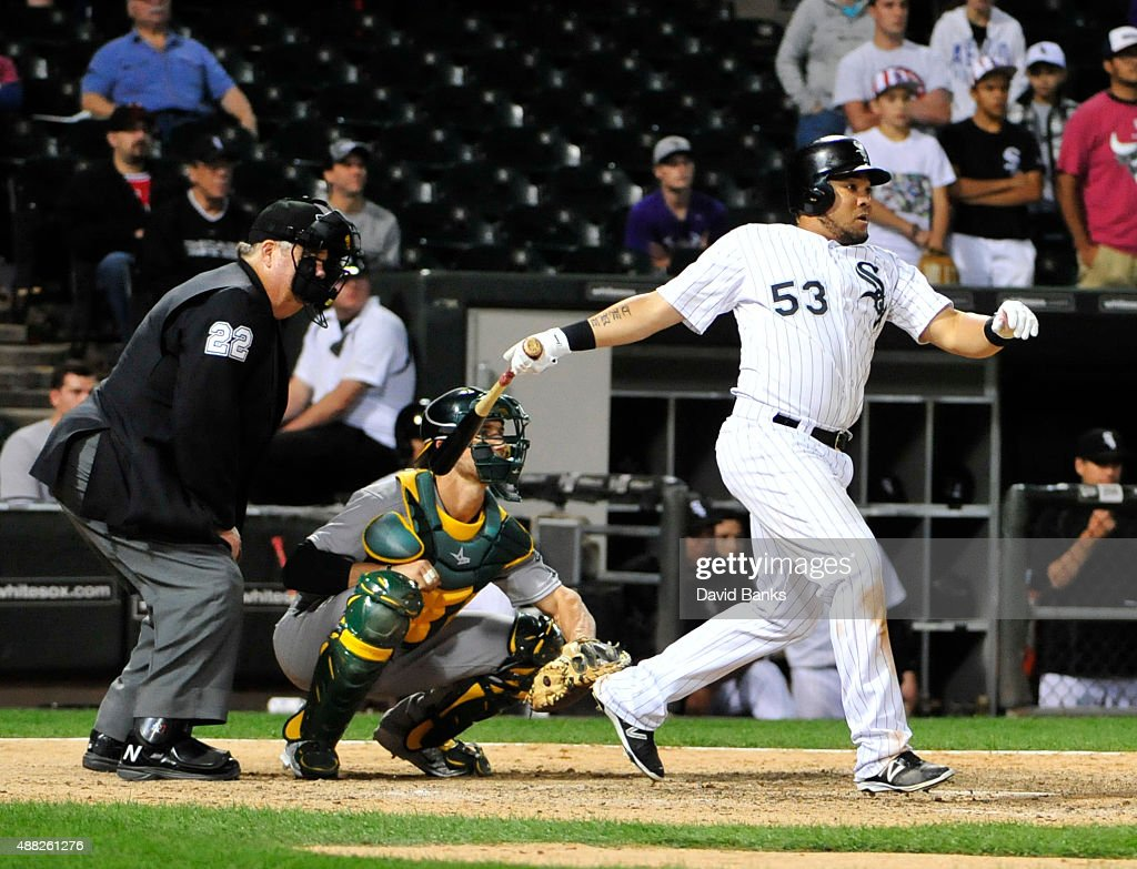 Melky Cabrera #53 of the Chicago White Sox hits a game winning RBI single during the fourteenth inning against the Oakland Athletics on September 15, 2015 at U.S. Cellular Field in Chicago, Illinois. The White Sox won 8-7 in ten innings.