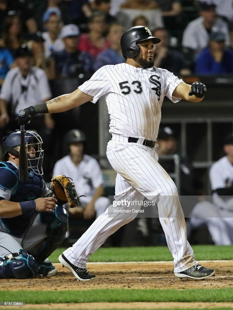 Melky Cabrera #53 of the Chicago White Sox hits a single in the 9th inning to go 4 for 5 in the game against the Seattle Mariners at Guaranteed Rate Field on July 15, 2017 in Chicago, Illinois. The Mariners defeated the White Sox 4-3.