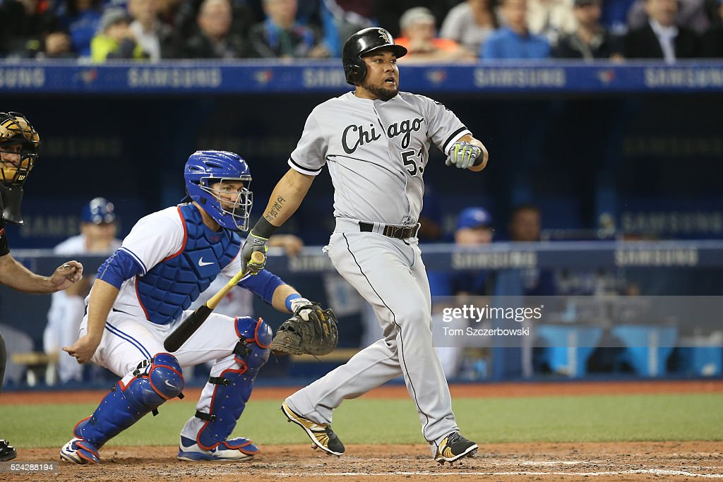 Melky Cabrera #53 of the Chicago White Sox leads off the seventh inning by hitting a single to right field during MLB game action against the Toronto Blue Jays on April 25, 2016 at Rogers Centre in Toronto, Ontario, Canada.