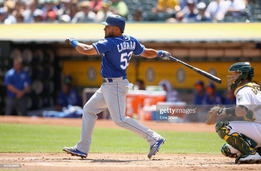 Melky Cabrera #53 of the Kansas City Royals hits a single in the first inning against the Oakland Athletics at Oakland Alameda Coliseum on August 16, 2017 in Oakland, California.
