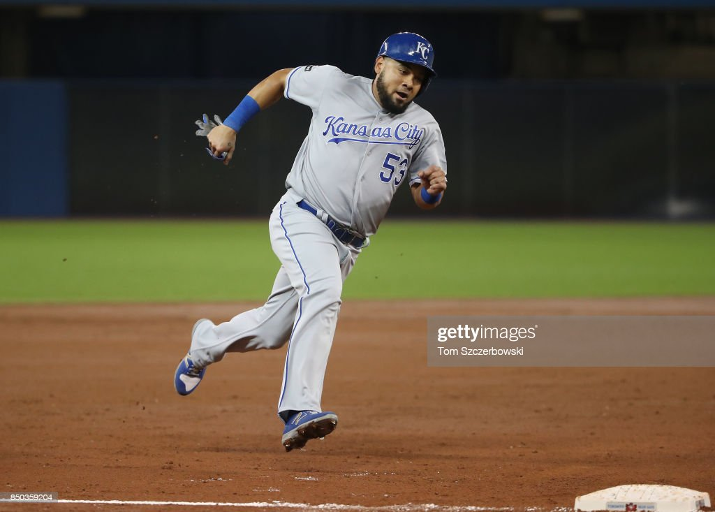 Melky Cabrera #53 of the Kansas City Royals rounds third base and heads home to score a run on a two-run double by Eric Hosmer #35 in the second inning during MLB game action against the Toronto Blue Jays at Rogers Centre on September 20, 2017 in Toronto, Canada.