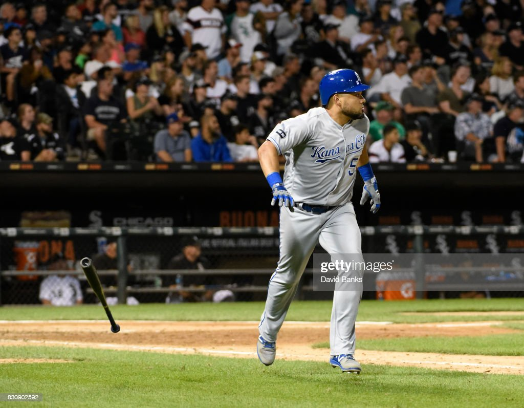 Melky Cabrera #53 of the Kansas City Royals watches his two-run homer against the Chicago White Sox during the eighth inning on August 12, 2017 at Guaranteed Rate Field in Chicago, Illinois. The Royals defeated the White Sox 5-4.