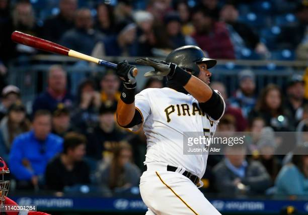Melky Cabrera of the Pittsburgh Pirates in action against the St Louis Cardinals at PNC Park on April 3 2019 in Pittsburgh Pennsylvania