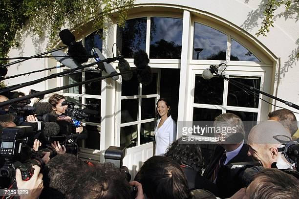 French Socialist Party candidate in 2007 presidential elections Segolene Royal faces the journalists 17 November 2006 in Melle center France the day...