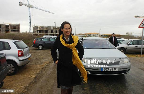 Segolene Royal one of the three candidates for the Socialist nomination in the 2007 French presidential race arrives for the ceremony for the set up...