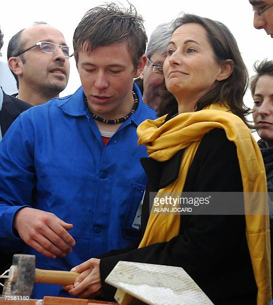 Segolene Royal one of the three candidates for the Socialist nomination in the 2007 French presidential race lays the first stone of an environment...