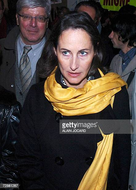 Segolene Royal one of the three candidates for the Socialist nomination in the 2007 French presidential race arrives for a ceremony for the set up of...