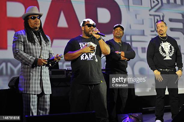 Melle Mel Raekwon Chuck D and IceT perform on stage to celebrate the premiere of IceT's new documentary film Something For Nothing The Art Of Rap at...