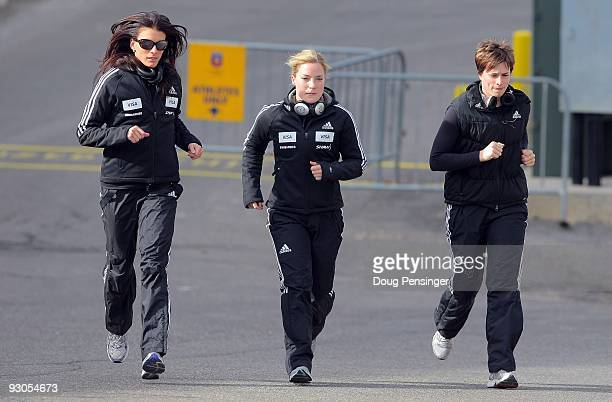 Mellisa Hollingsworth Sarah Reid and Amy Gough of Canada warm up as they prepare for training runs for the FIBT Skeleton World Cup at the Utah...