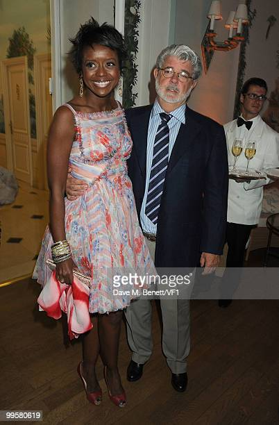 Mellody Hobson and director George Lucas attend the Vanity Fair and Gucci Party Honoring Martin Scorsese during the 63rd Annual Cannes Film Festival...