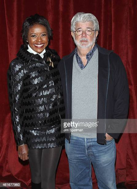 Mellody Hobson and director/producer George Lucas attend the Lucasfilm Touchstone Pictures with The Cinema Society host a screening of 'Strange...