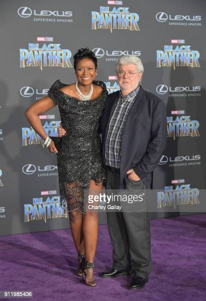 Mellody Hobson and George Lucas arrive for the World Premiere of Marvel Studios' Black Panther presented by Lexus at Dolby Theatre in Hollywood on...