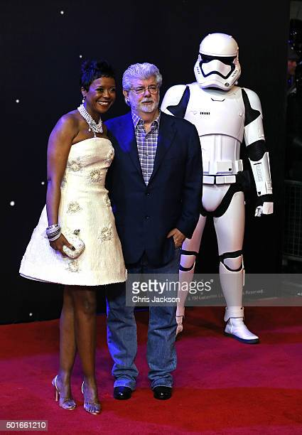 Mellody Hobson and George Lucas attend the European Premiere of 'Star Wars The Force Awakens' at Leicester Square on December 16 2015 in London...