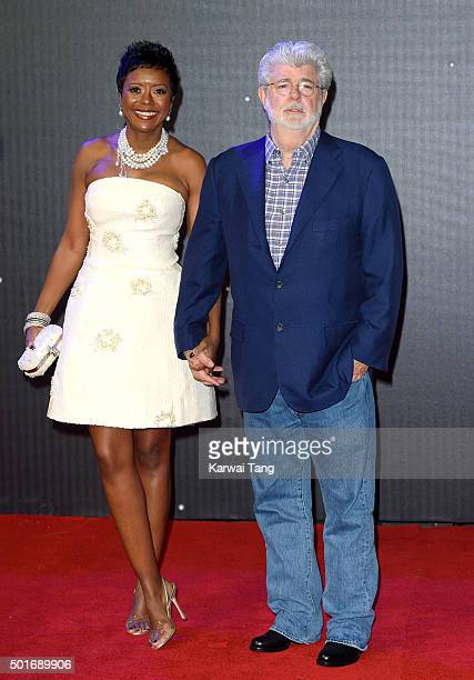 """Mellody Hobson and George Lucas attend the European Premiere of """"Star Wars: The Force Awakens"""" at Leicester Square on December 16, 2015 in London,..."""