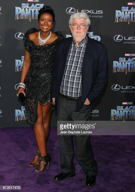 Mellody Hobson and George Lucas attend the premiere of Disney and Marvel's 'Black Panther' on January 28 2018 in Los Angeles California