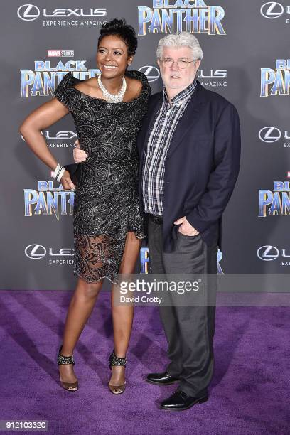 Mellody Hobson and George Lucas attend the Premiere Of Disney And Marvel's 'Black Panther' Arrivals on January 29 2018 in Hollywood California