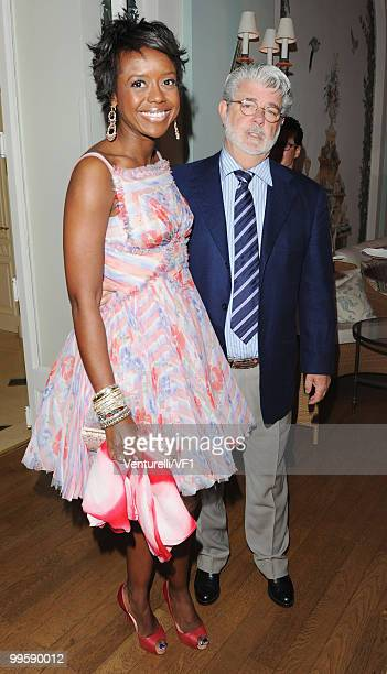 Mellody Hobson and George Lucas attend the Vanity Fair and Gucci Party Honoring Martin Scorsese during the 63rd Annual Cannes Film Festival at the...