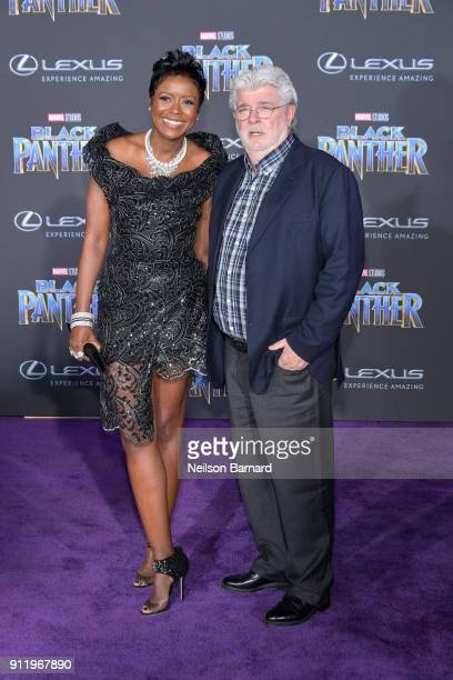 """Mellody Hobson and George Lucas attends the premiere of Disney and Marvel's """"Black Panther"""" at Dolby Theatre on January 29, 2018 in Hollywood,..."""