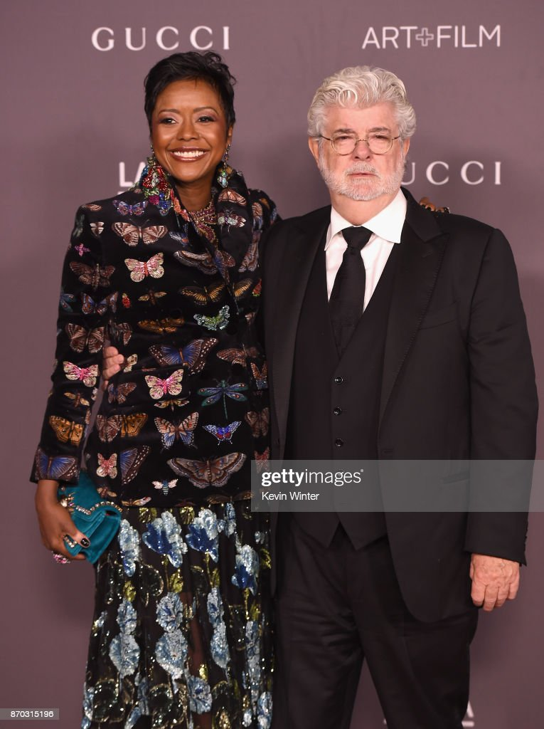 Mellody Hobson (L) and honoree George Lucas attend the 2017 LACMA Art + Film Gala Honoring Mark Bradford And George Lucas at LACMA on November 4, 2017 in Los Angeles, California.