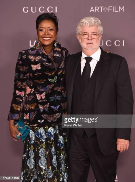 Mellody Hobson and honoree George Lucas attend the 2017 LACMA Art Film Gala Honoring Mark Bradford And George Lucas at LACMA on November 4 2017 in...