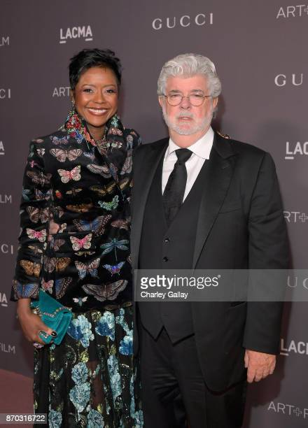 Mellody Hobson and honoree George Lucas attend the 2017 LACMA Art + Film Gala Honoring Mark Bradford and George Lucas presented by Gucci at LACMA on...