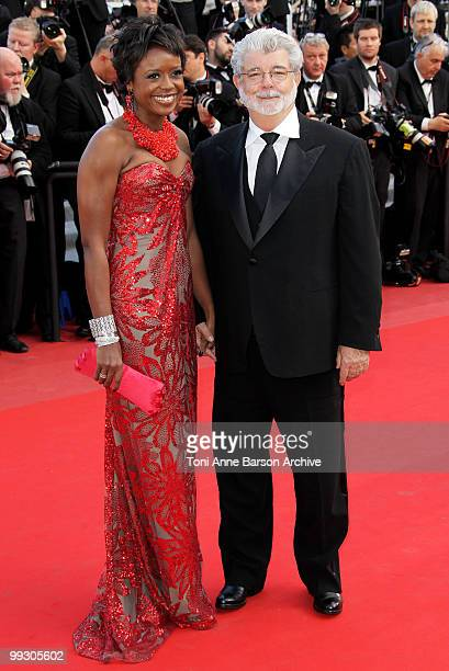 Mellody Hobson and writer/director George Lucas attend the Premiere of 'Wall Street: Money Never Sleeps' held at the Palais des Festivals during the...
