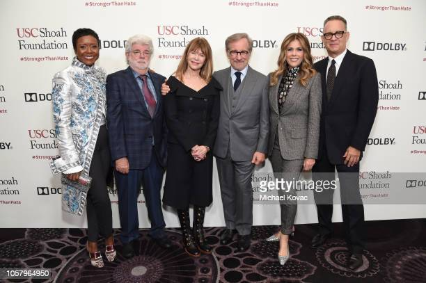 Mellody Hobson, George Lucas, Kate Capshaw, Steven Spielberg, Rita Wilson, and Tom Hanks attend the Ambassadors For Humanity Gala Benefiting USC...