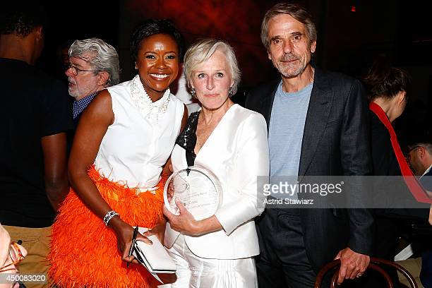 Mellody Hobson, Glenn Close and Jeremy Irons attend the Sundance Institute Vanguard Leadership Award honoring Glenn Close at Stage 37 on June 4, 2014...