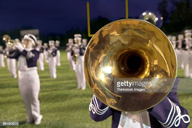 mellophone in marching band - marching band stock pictures, royalty-free photos & images