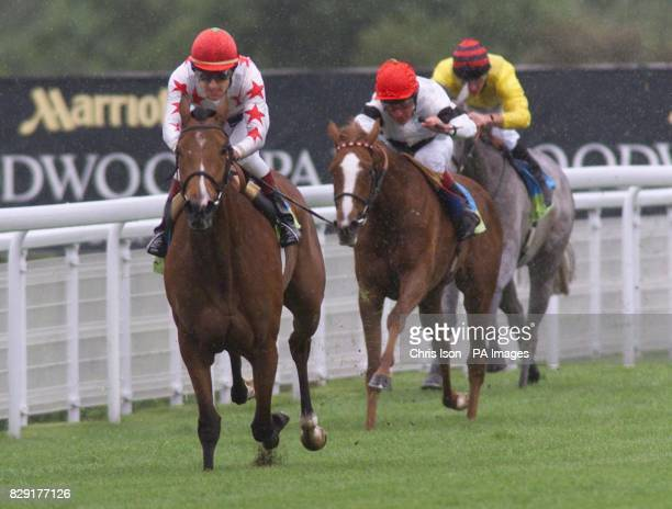 Mellow Park and Darryll Holland race home to win the Victor Chandler Lupe Stakes at GoodwoodWest Sussex from Pat Eddery on Kootenay and Jimmy Fortune...