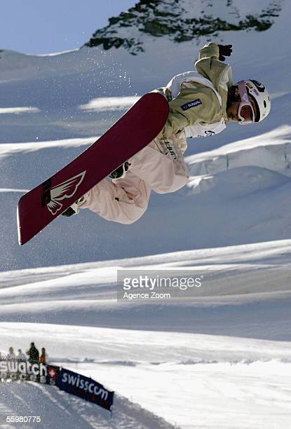 Melo Imai of Japan competes on her way to victory during the Ladies FIS World Cup Snowboard Halfpipe event on October 21 2005 in Saas Fee Switzerland