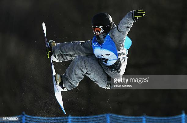 Melo Imai of Japan practices during snowboard training prior to the Turin 2006 Winter Olympic Games on February 9 2006 in Bardonecchia Italy The...