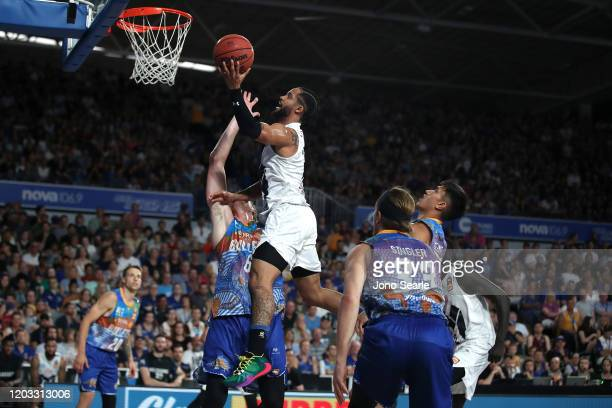 Melo Trimble of Melbourne United shoots the ball during the round 18 NBL match between the Brisbane Bullets and Melbourne United at Nissan Arena on...