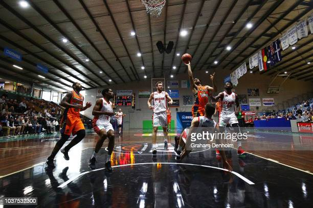 Tohi SmithMilner of Melbourne United shoots during the 2018 NBL Blitz match between the Brisbane Bullets and Melbourne United at Ballarat Minerdrome...