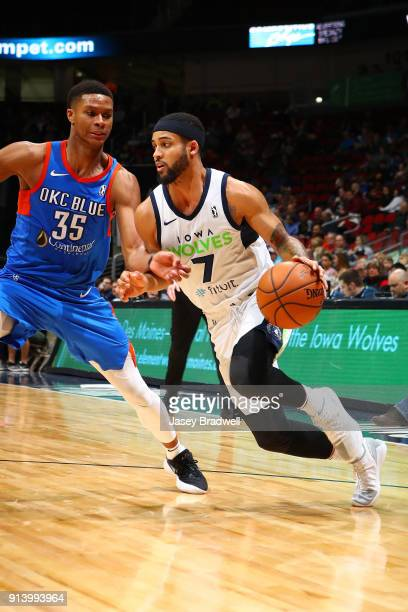 Melo Trimble of the Iowa Wolves drives around PJ Dozier of the Oklahoma City Blue in an NBA GLeague game on February 3 2018 at the Wells Fargo Arena...