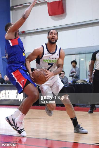 Melo Trimble of the Iowa Wolves handles the ball against the Grand Rapids Drive NBA G League Showcase Game 20 between the Grand Rapids Drive and the...