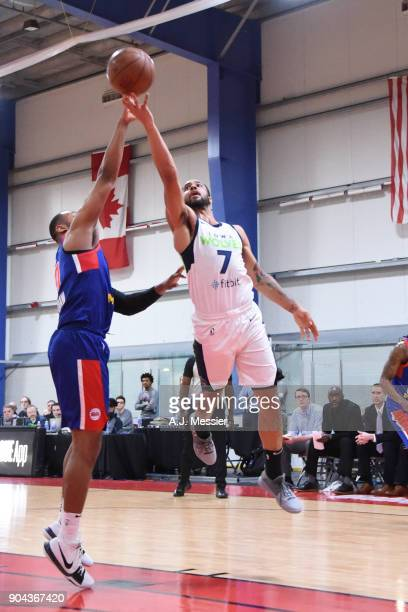 Melo Trimble of the Iowa Wolves shoots the ball against the Grand Rapids Drive NBA G League Showcase Game 20 between the Grand Rapids Drive and the...